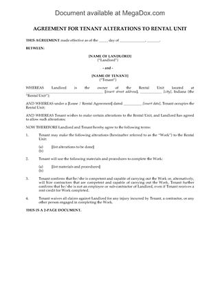 Picture of Indiana Tenant Agreement for Alterations to Rental Unit