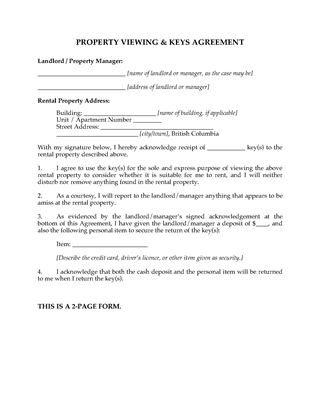 Picture of British Columbia Rental Property Viewing Agreement