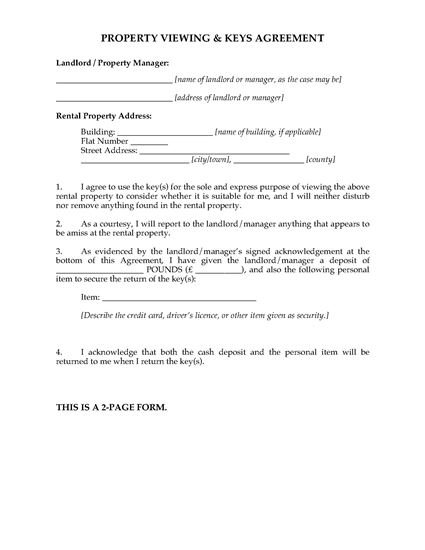 Picture of UK Rental Property Viewing Agreement