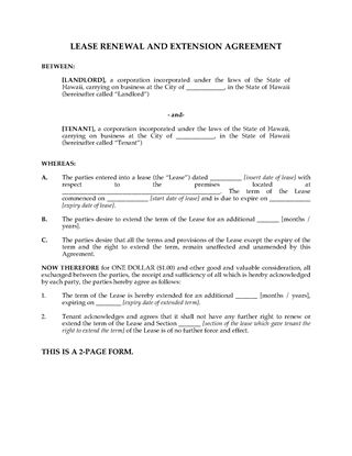Picture of Hawaii Renewal and Extension of Commercial Lease