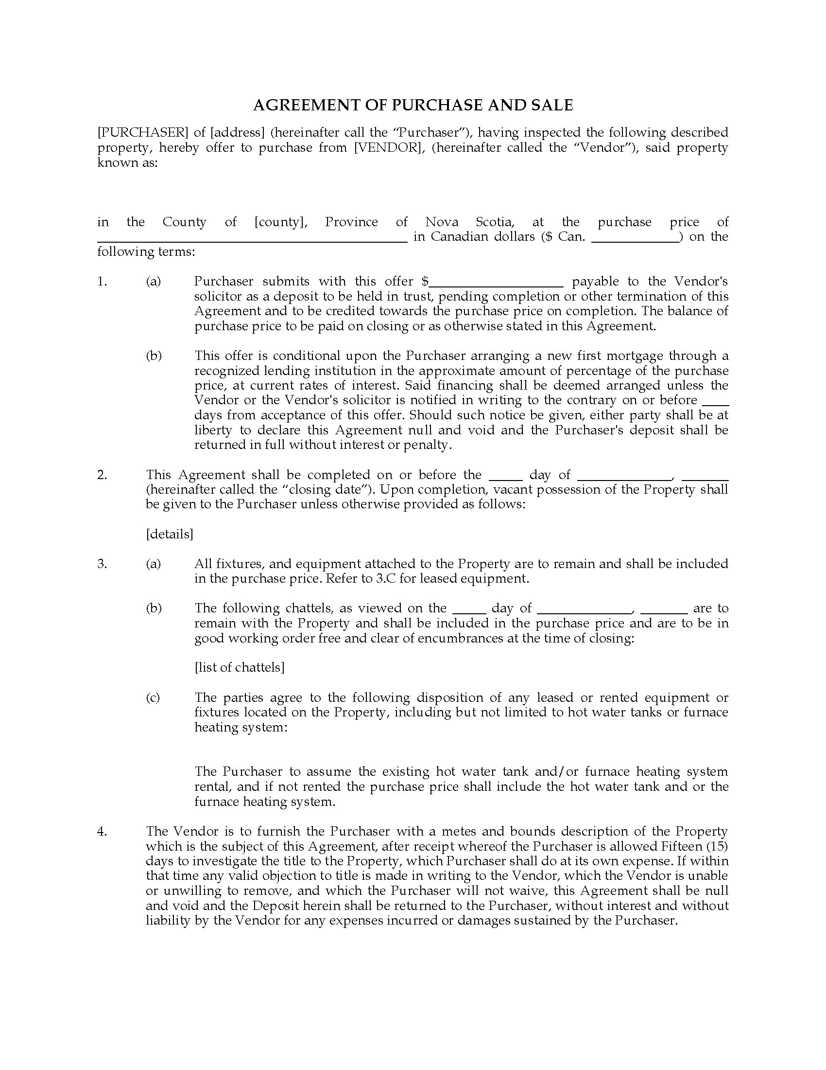 Nova Scotia Residential Purchase and Sale Agreement – Purchase and Sales Agreement