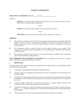 Picture of Alberta Agency and Trustee Agreement