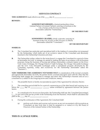 Picture of Alberta Commodities Trader Consulting Services Agreement