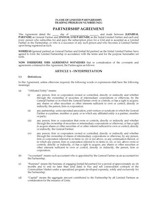 Picture of Alberta Limited Partnership Agreement for Buying & Selling Commodities Contracts