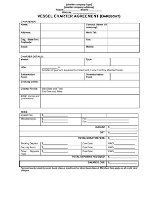 Picture of Australia Bareboat Vessel Charter Agreement