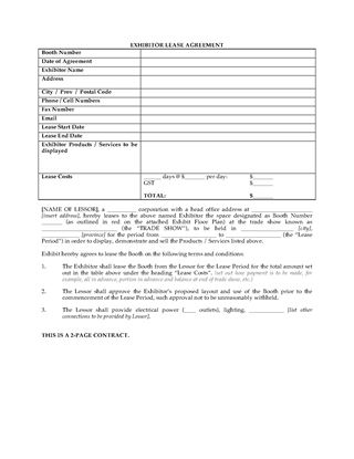 Picture of Canada Trade Show Exhibitor Lease Agreement