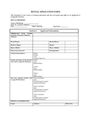 Picture of Alabama Rental Application Form