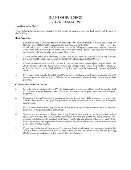 Picture of Apartment Building Rules and Regulations