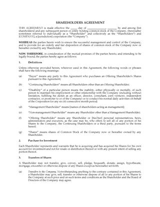Picture of USA Shareholder Agreement with Community Property Provisions