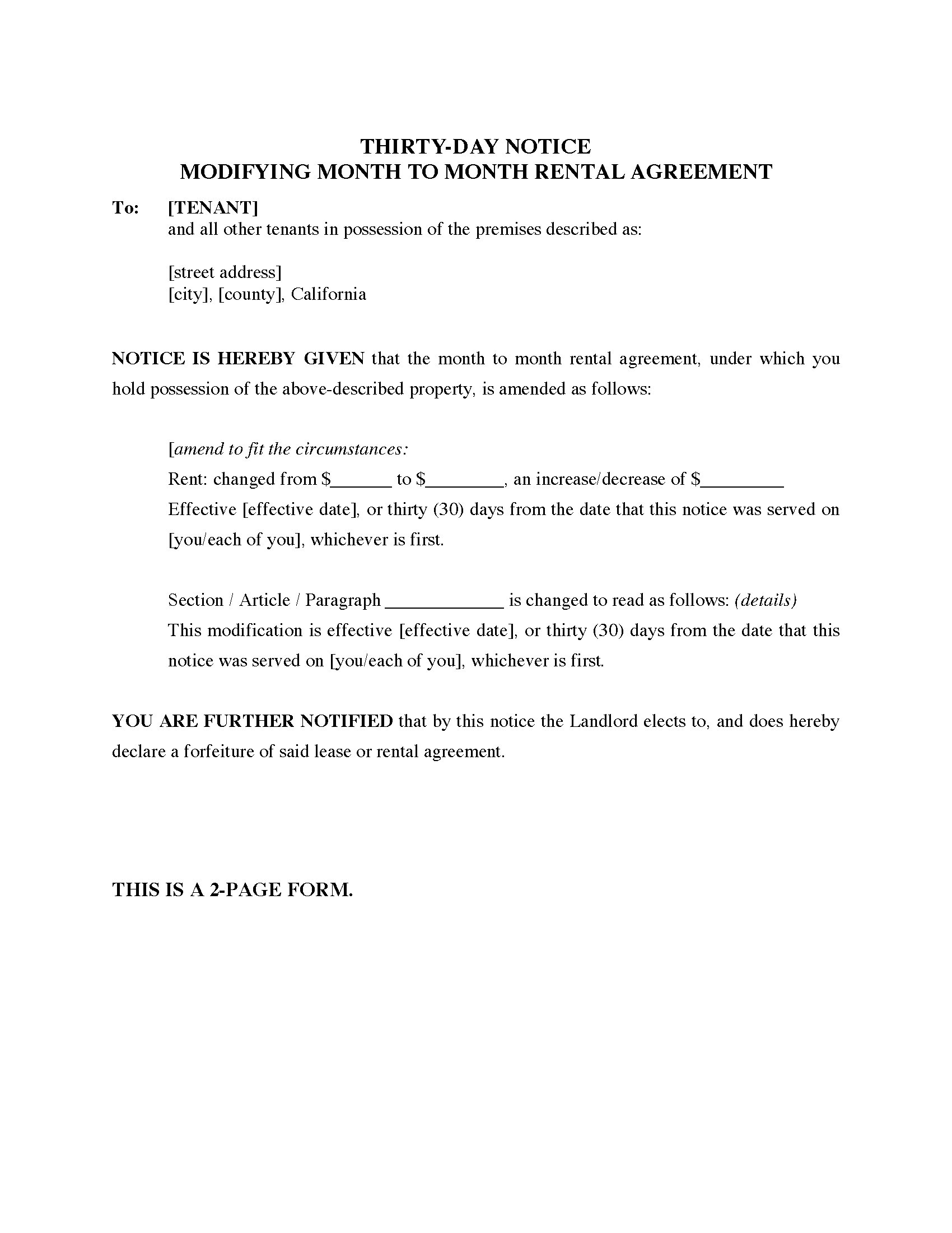 California 30-Day Notice Modifying Month-to-Month Rental Agreement ...