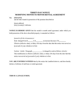 california 30 day notice modifying monthly rental agreement