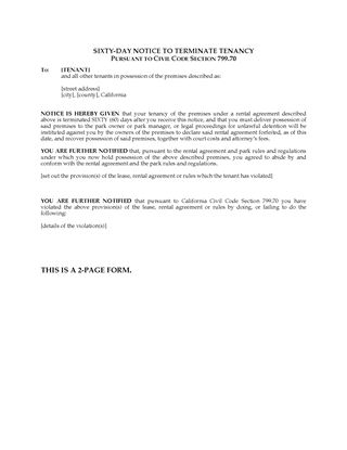 Picture of California 60 Day Notice to Terminate Mobile Home Tenancy