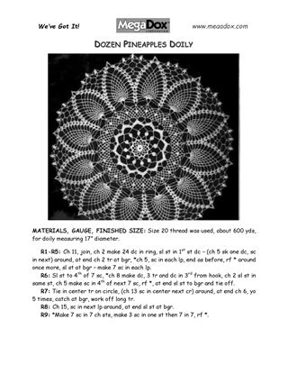 Picture of Pineapple Single-Ring Doily Crochet Pattern