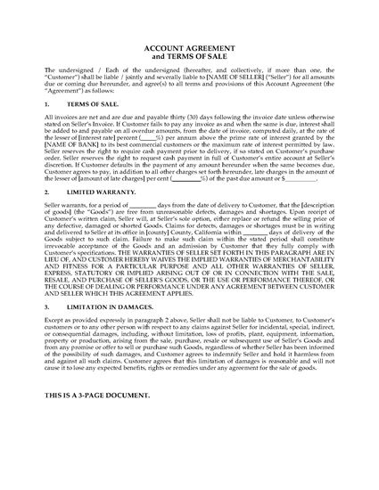 California Customer Account Agreement And Terms Of Sale
