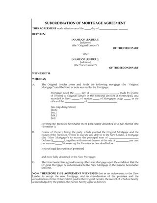 Picture of New York Subordination of Mortgage Agreement
