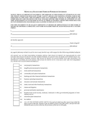 Picture of Montana Statutory Short Form Power of Attorney