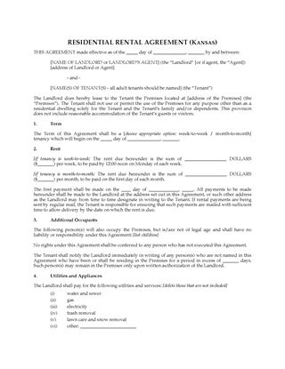 Picture of Kansas Rental Agreement for Residential Premises