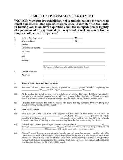 Michigan Fixed Term Lease Agreement