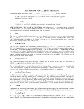 Picture of Mississippi Fixed Term Residential Lease Agreement