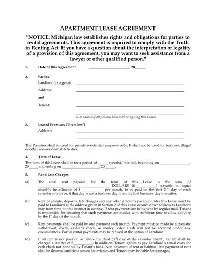 Michigan Apartment Lease Agreement