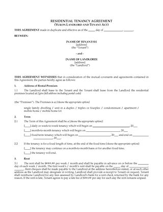 Picture of Yukon Residential Lease / Tenancy Agreement