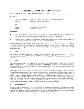 Picture of Tennessee Residential Fixed Term Lease