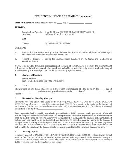 Louisiana Fixed Term Residential Lease Agreement