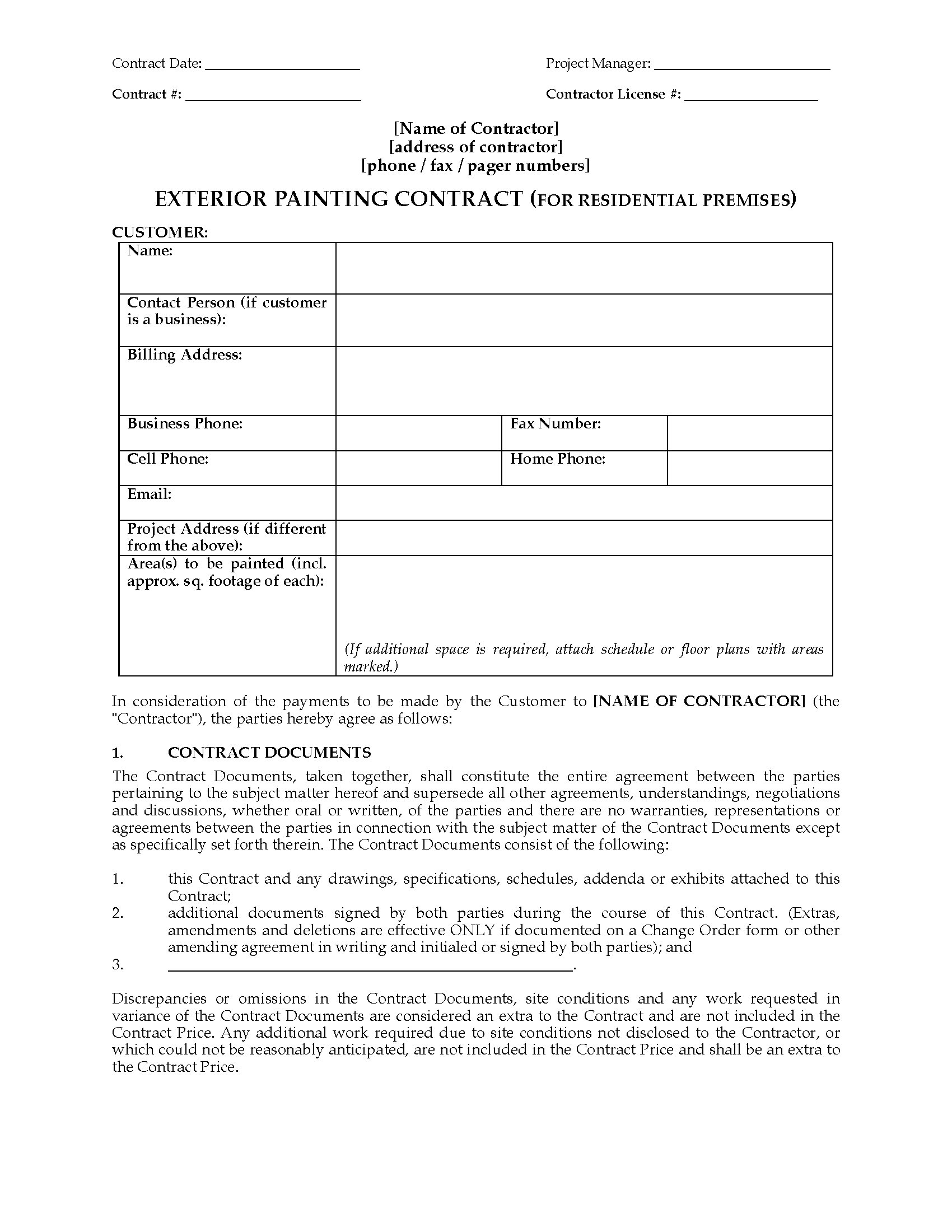 exterior painting contract residential legal forms and