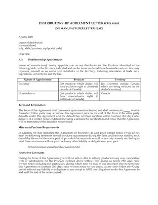 product distribution agreement template .