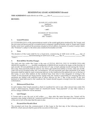 Picture of Idaho Fixed Term Residential Lease Agreement