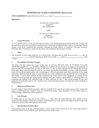 Picture of Kentucky Fixed Term Residential Lease Agreement