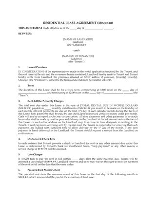 Picture of Missouri Fixed Term Residential Lease Agreement
