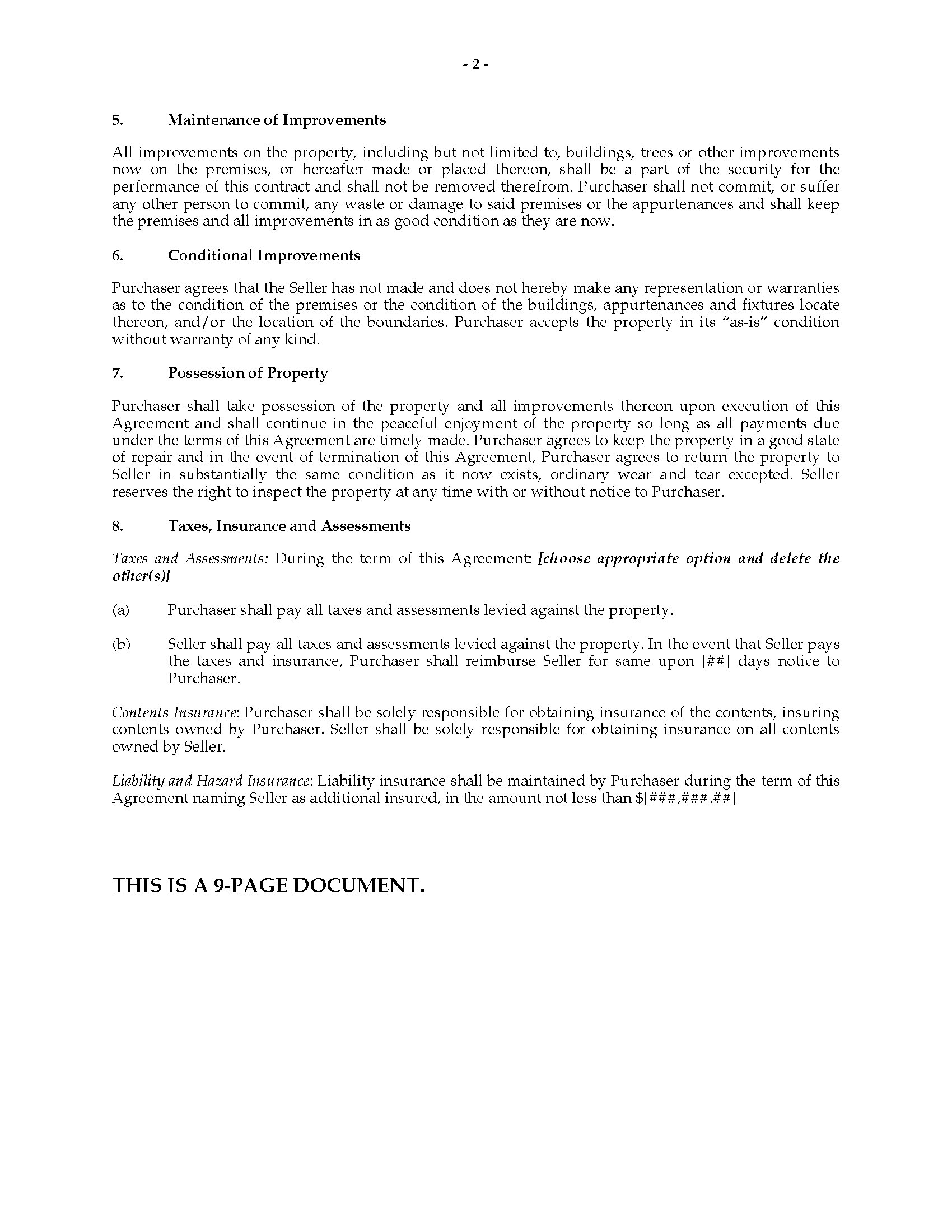 Wisconsin Contract for Deed – Sample Contract for Deed