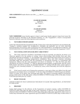Picture of Arizona Equipment Lease Agreement