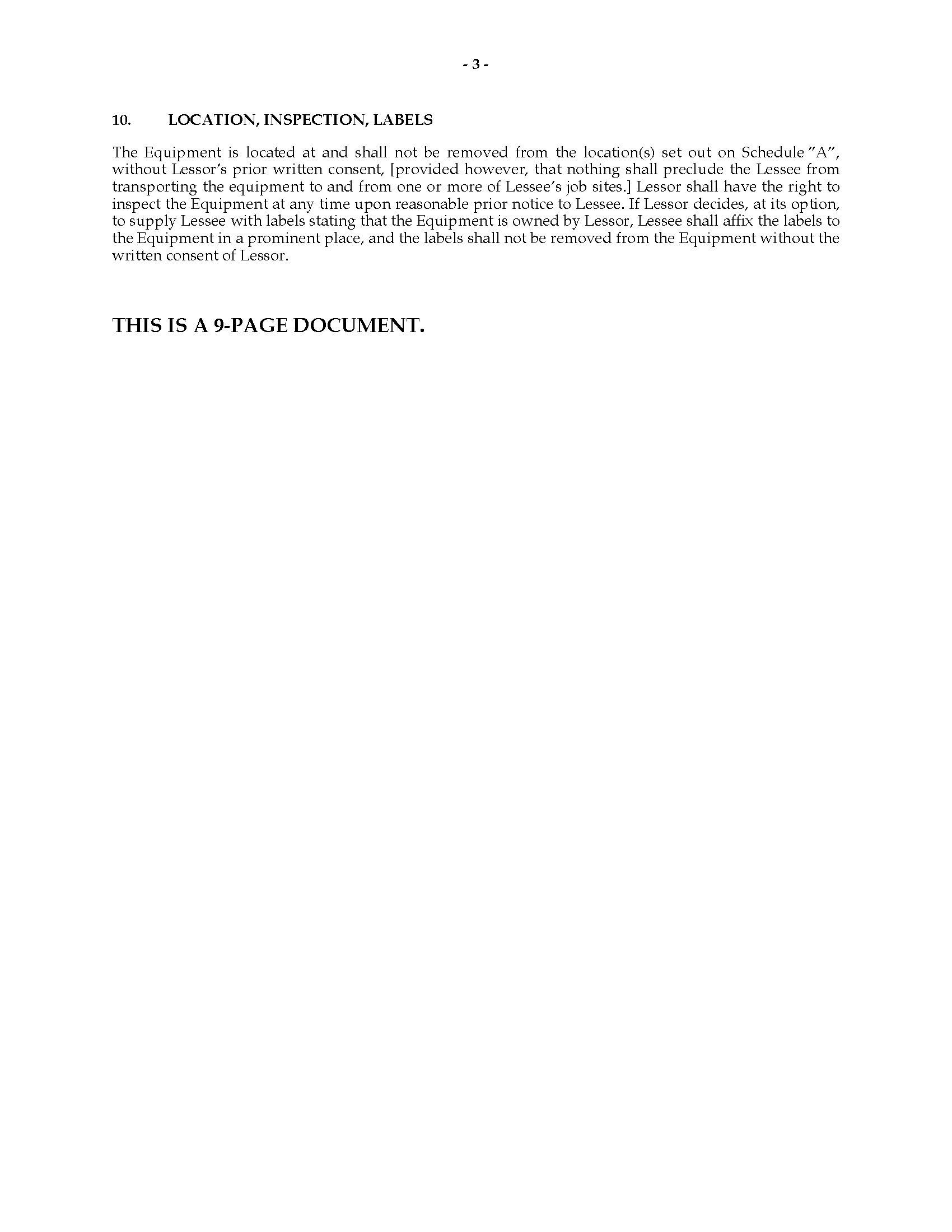 Florida Equipment Lease Agreement – Equipment Rental Agreement Sample
