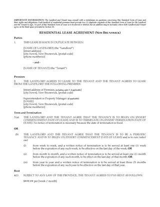 Picture of New Brunswick Residential Lease / Tenancy Agreement