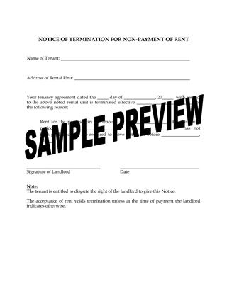 Picture of Manitoba Landlord Notice Forms for Termination of Tenancy