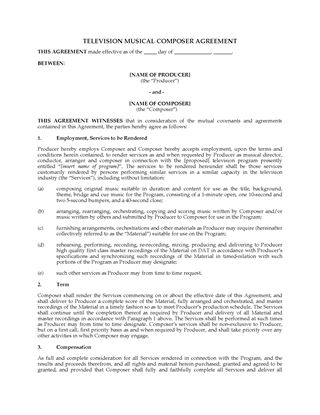 Television production forms legal forms and business for Music production contract template