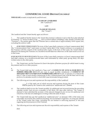 Picture of British Columbia Commercial Lease Agreement for Fixed or Monthly Tenancy