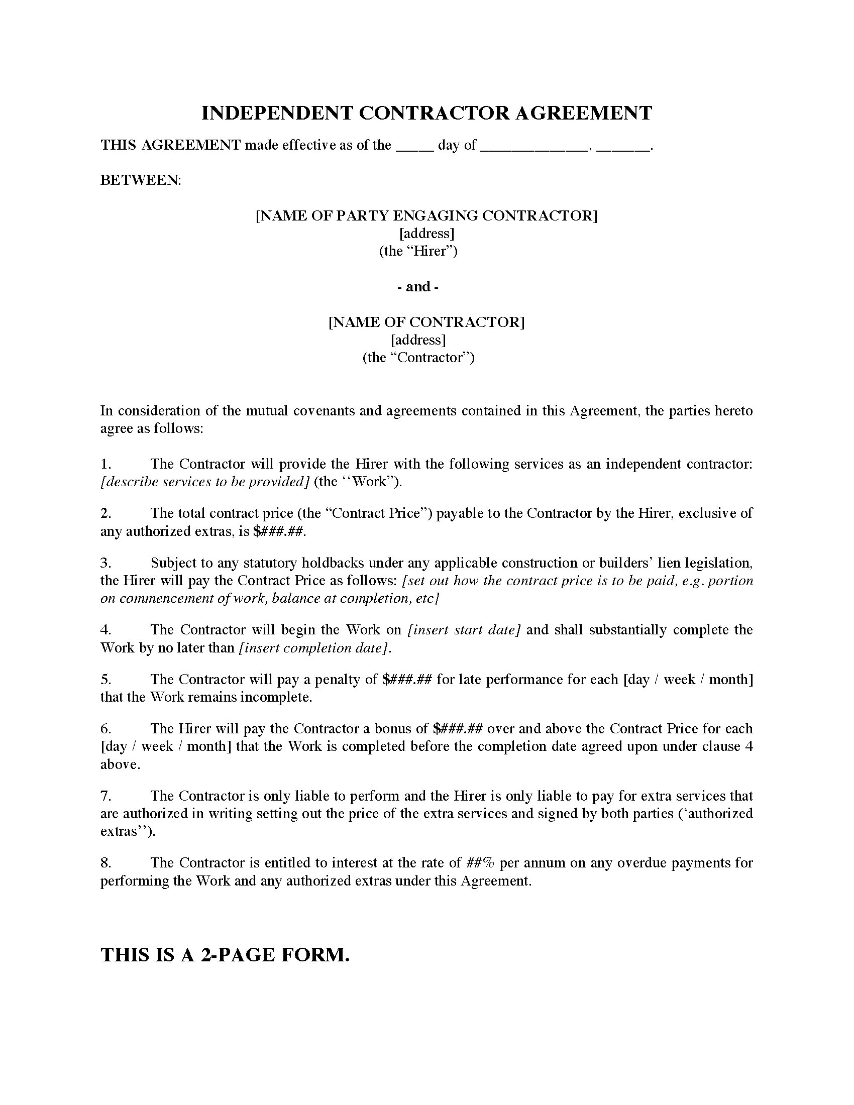 Construction Contractor Agreement with Late Completion Penalty – Construction Agreement Form