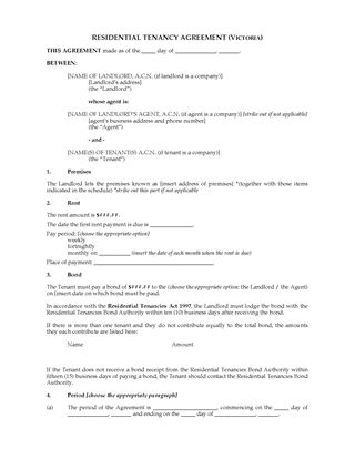 Picture of Victoria Residential Tenancy Agreement