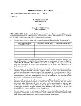 Picture of Sponsorship Agreement for Live Performances