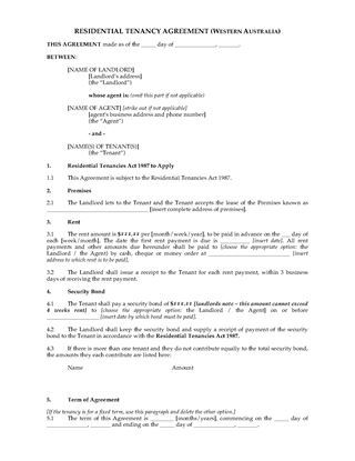 Picture of Western Australia Residential Tenancy Agreement