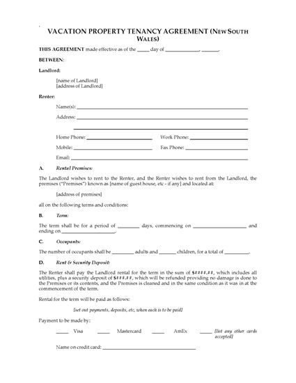Nsw vacation property rental agreement legal forms and for Cabin rental agreement