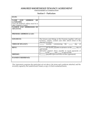 Picture of UK Assured Shorthold Tenancy Agreement (Furnished Premises)