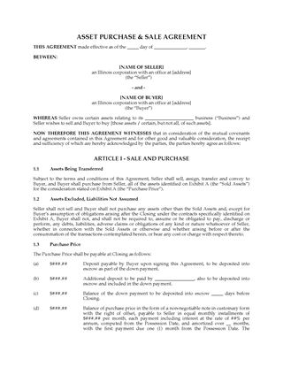 Picture of Illinois Asset Purchase and Sale Agreement