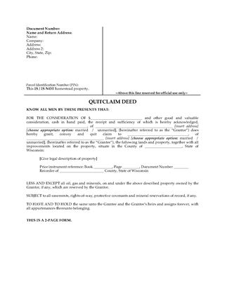 Picture of Wisconsin Quitclaim Deed