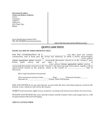 wisconsin quitclaim deed legal forms and business templates