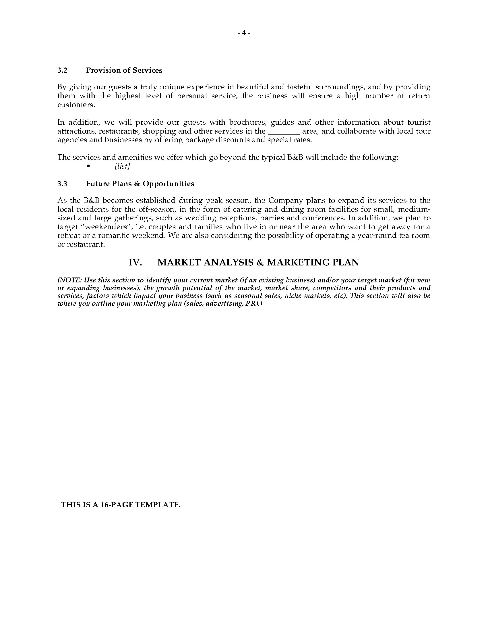 Bed And Breakfast Business Plan Legal Forms And Business