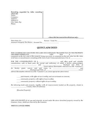 Picture of California Quitclaim Deed for Joint Ownership